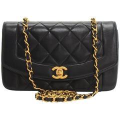 "Vintage Chanel 9"" Dianna Classic Black Quilted Leather Shoulder Flap Bag"