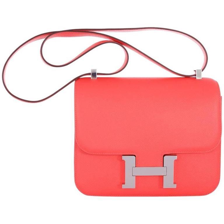 Hermes Constance 24cm Rose Jaipur Palladium Hardware 1