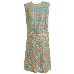 1960s Italian Couture Sequins Mod Cocktail Dress