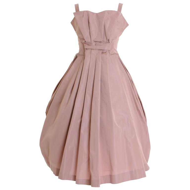 1950s Italian Couture Powder Pink Taffeta Cocktail Dress For Sale