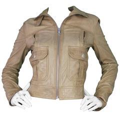 Dolce & Gabbana Tan Leather Moto Jacket sz IT42