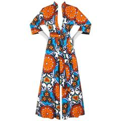 PENTHOUSE GALLERY c.1970's CATHERINE OGUST Floral Print Palazzo Jumpsuit w/ Belt
