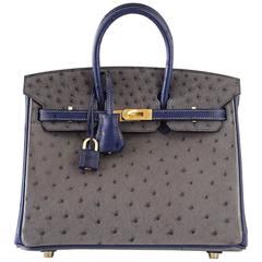 HERMES BIRKIN Bag 25 Horseshoe Ostrich Gris Agate/Blue Iris Brushed Gold