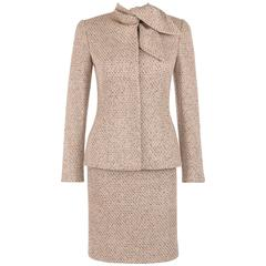 "ALEXANDER McQUEEN A/W 2004 ""Pantheon As Lecum"" 2 Piece Beige Blazer Skirt Suit"