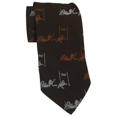 Schiaparelli Brown Tortoise and The Hare Wide Tie Necktie, 1970s
