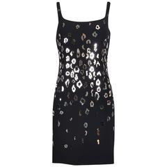 1990's Gianni Versace Black Cocktail Dress Embellished w/Mirrored Leopard Spots