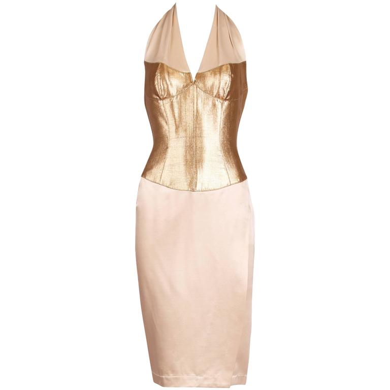 Thierry Mugler Silk Halter Dress W/Gold Bodice & Creme Colored Faux-Wrap Skirt 1
