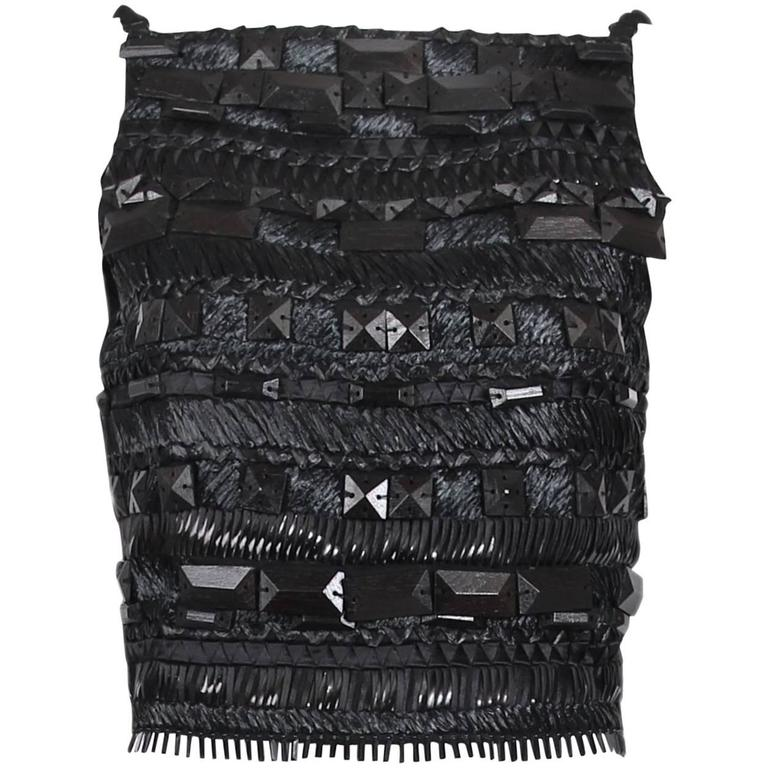 Gianfranco Ferre Black Open-Back Top Embroidered W/Raffia, Silk Ribbon, & Beads