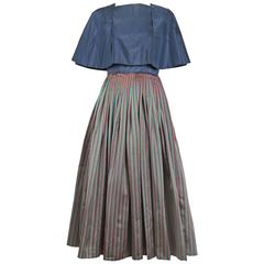 1983 Madame Gres Blue Striped Taffeta Cocktail Dress W/Cropped Cape