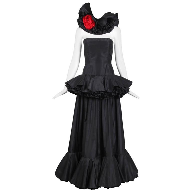 Lanvin Demi-Couture Black Silk Taffeta Strapless Gown W/Rose Neck Piece Ca.1979