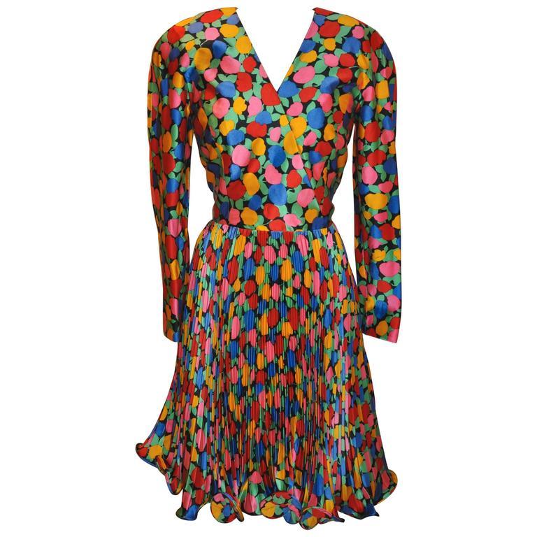 "Scaasi Multi-Color Floral ""Swirl"" Silk Dress For Sale"