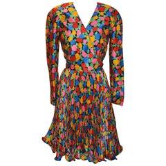 "Scaasi Multi-Color Floral ""Swirl"" Silk Dress"