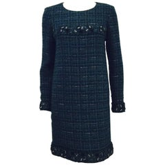 Chanel 2012 Fall Green and Blue Tweed Long Sleeve Sheath Dress With Tags 38