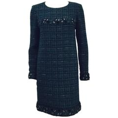 Chanel 2012 Fall Green and Blue Tweed Long Sleeve Sheath Dress With Tags
