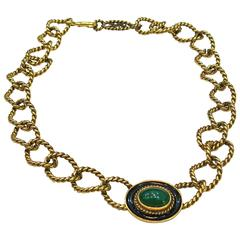 Yves St. Laurent YSL Braided Green Cabochon Chain necklace