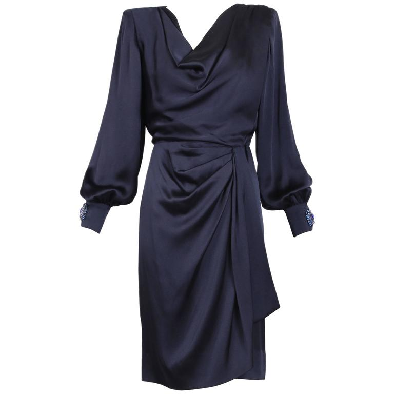 Givenchy Haute Couture Vintage Midnight Blue Silk Faux Wrap Dress No