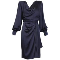 Givenchy Haute Couture Vintage Midnight Blue Silk Faux Wrap Dress No 78026