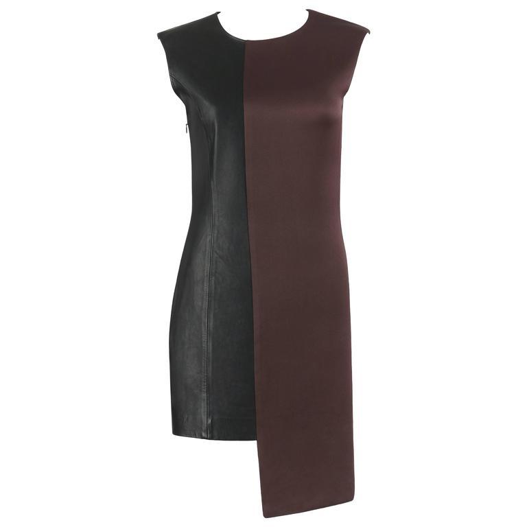 MAISON MARTIN MARGIELA A/W 2009 Dark Plum Crepe Black Leather Asymmetrical Dress