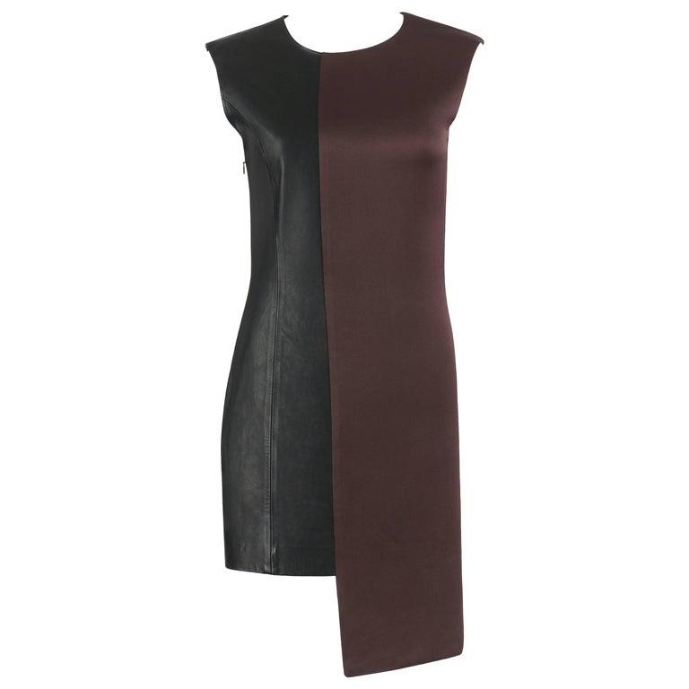 MAISON MARTIN MARGIELA A/W 2009 Dark Plum Crepe Black Leather Asymmetrical Dress For Sale