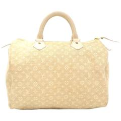 Louis Vuitton Speedy 30 White Dune Mini Monogram Lin Hand Bag