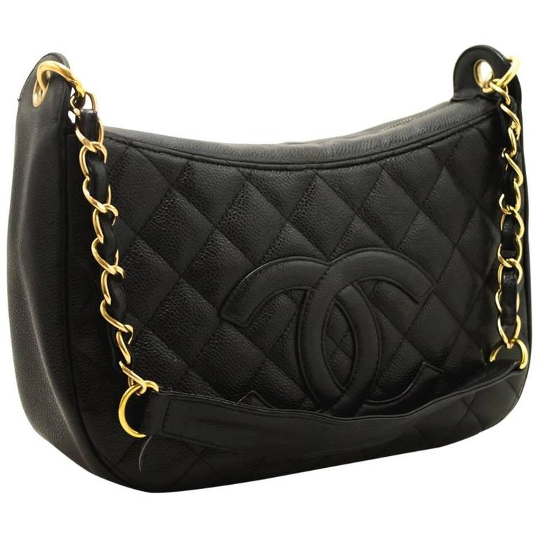 CHANEL Caviar Chain One Shoulder Bag Black Quilted Leather Zipper  1