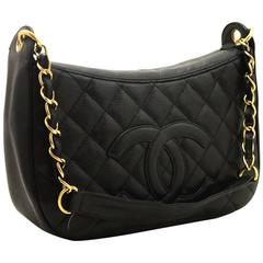 CHANEL Caviar Chain One Shoulder Bag Black Quilted Leather Zipper