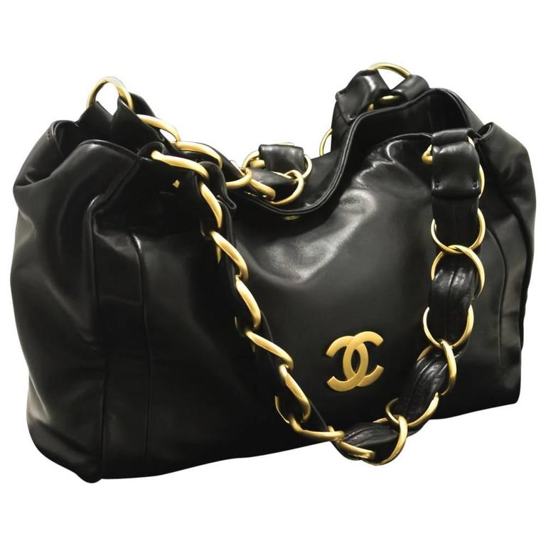 CHANEL 2003 Gold Chain Shoulder Bag Black Lambskin Leather Purse  1