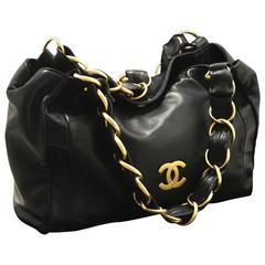 CHANEL 2003 Gold Chain Shoulder Bag Black Lambskin Leather Purse