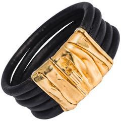 Collezione Monte Napoleone Retro Design Gold Vermeil Sterling Leather Cuff