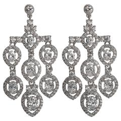 Faux Diamond Shimmering Pendant Chandelier Earring