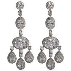 Faux Diamond  Shimmering Girandole Chandelier Earring