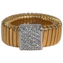 Collezione Monte Napoleone Gold Vermeil Sterling Faux Diamond Tubogaz Ring