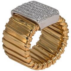 Wide Collezione Monte Napoleone Gold Vermeil Sterling Faux Diamond Tubogaz Ring