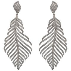 Faux Flexible Micro Pave Diamond Feather Sterling Earrings