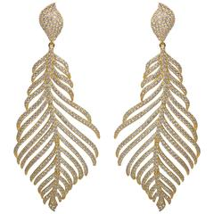 Faux Flexible Micro Pave Diamond Feather Vermeil Sterling Earrings