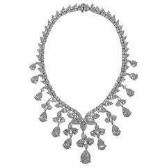 Magnificent Cubic Zirconia White Diamond  CZ Drop Fringe Collier Necklace