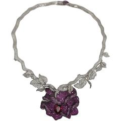 Magnificent Faux Ruby Rose Diamond Wrap Collar Sterling Silver Necklace