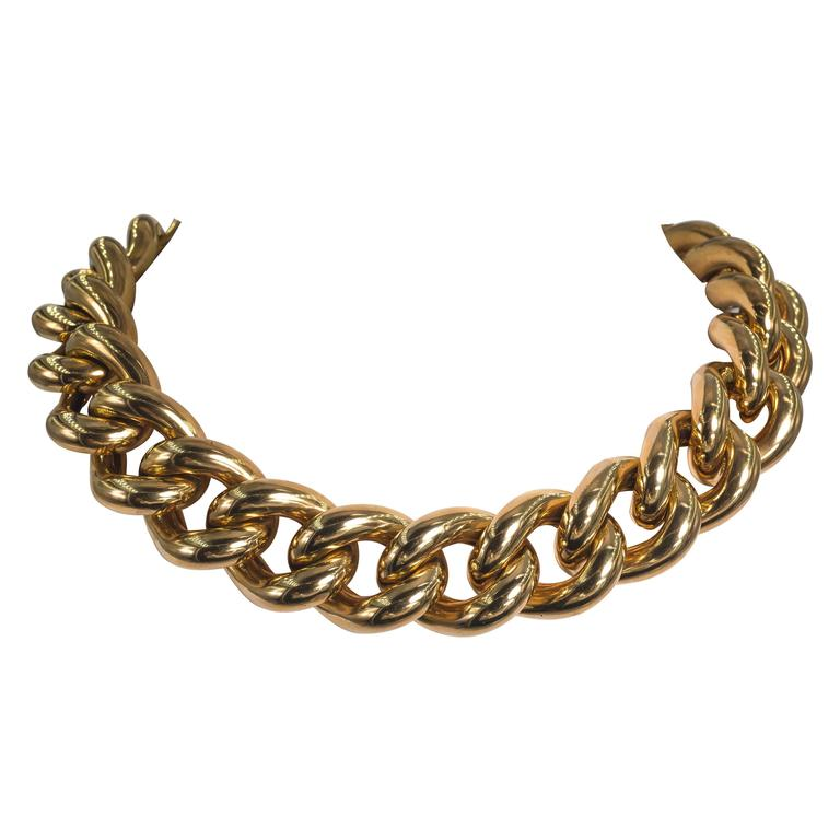 Collezione Monte Napoleone Large Gold Vermeil Sterling Curb Bold Link Necklace 2