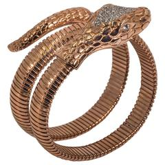 Collezione Monte Napoleone Rose Gold Vermeil Sterling Faux Diamond Snake Bangle