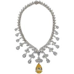 Magnificent Cubic Zirconia White Diamond Yellow GIA Canary CZ Drop Necklace