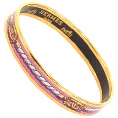 Hermes Purple x Gold Tone Enamel PM Bracelet Bangle
