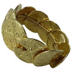 Loris Azzaro Bracelet Golden Metal Costume Jewerly Inlaid Multi Round Medallions