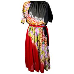 1970s Oleg Cassini Red and Black Floral Empire Waist Dress