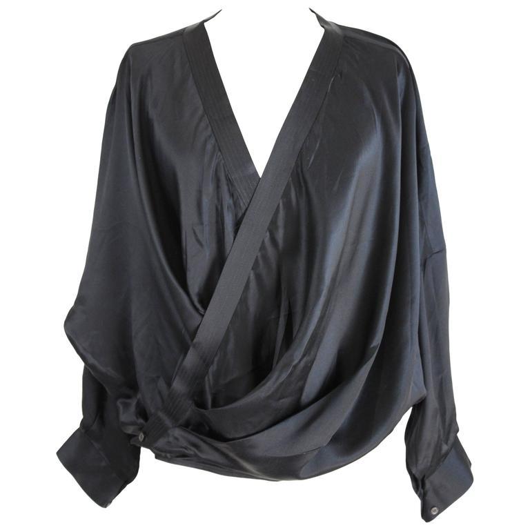1980s Gianfranco Ferrè Black Silk Surplice Draped Shirt 1