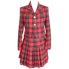 Gianni Versace Wool Set Dress Tartan Red Jacket and Flared Skirt