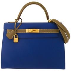 Hermes Blue Electric Etoupe Special Order Kelly Gold Hardware
