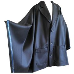 Walter van Beirendonck Men's Navy Blue Coat Cape with Selvedge Trim New / Tags