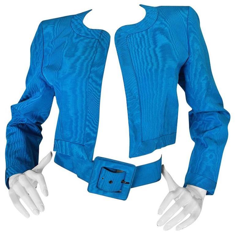 1980s Yves Saint Laurent Blue Moire Silk Jacket w Belt 1