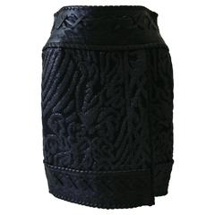 Rare Gianfranco Ferre Lurex Knitted Texture Skirt With Leather Detailing 1990's