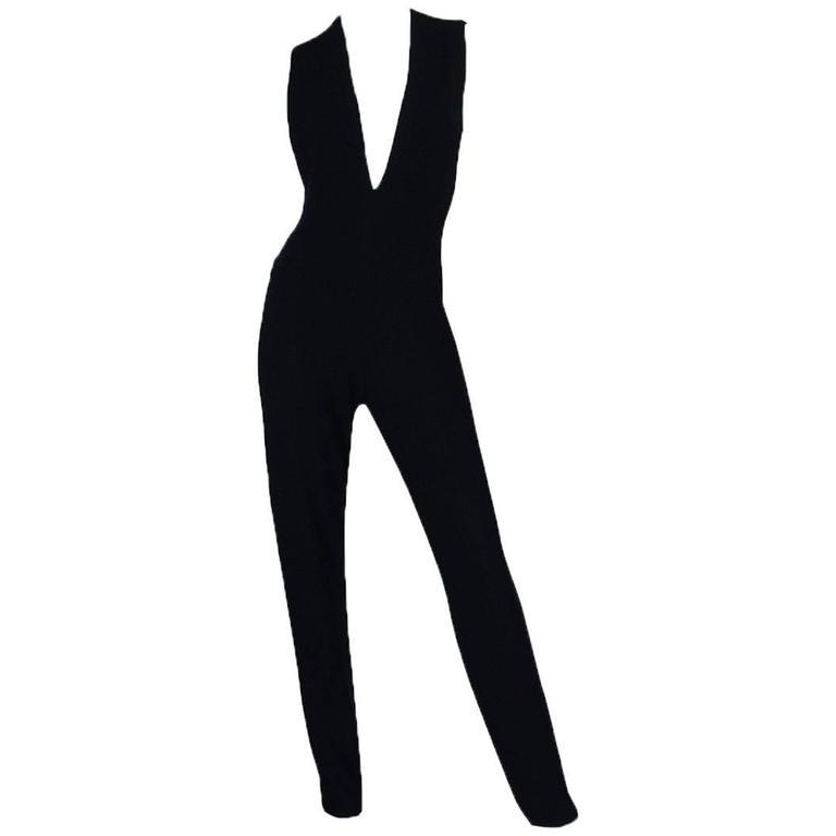 1980s Donna Karan Plunging Stretch Stirrup Pant Jumpsuit 1
